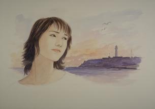 イラスト 灯台と女のイラスト素材 [FYI03985349]