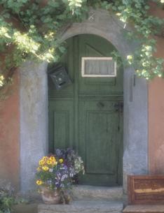 緑のドアの写真素材 [FYI03986348]