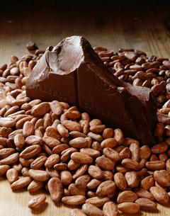チョコレートとカカオビーンズの写真素材 [FYI03987479]