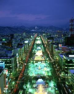 雪祭大通会場夜景 札幌TV塔より望むの写真素材 [FYI03990413]