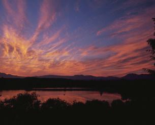 水沢ダム貯水池と朝焼けの雲の写真素材 [FYI03990753]