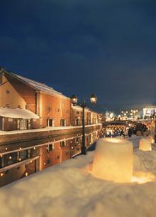 小樽運河夕景の写真素材 [FYI03990788]