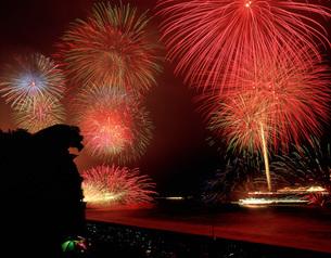 獅子岩と熊野大花火大会の写真素材 [FYI03992078]