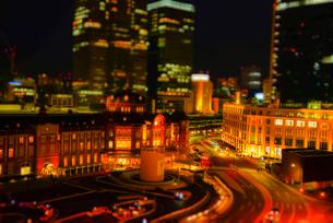 東京駅高層ビル群ミニチュア風風景の写真素材 [FYI03993122]
