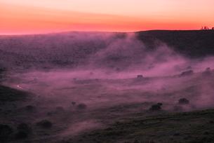 車山肩より夜明けの霧ヶ峰高原車山湿原朝焼けの空と朝霧の写真素材 [FYI03993908]