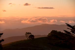 入笠高原より望む乗鞍岳穂高連峰方向夕焼けと雲海の写真素材 [FYI03994468]
