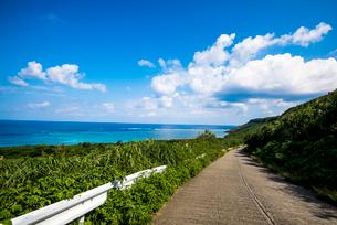 宮古島 海に延びる道の写真素材 [FYI03994556]