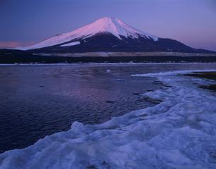 雪の山中湖と赤富士    1月の写真素材 [FYI03994911]