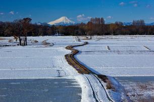 雪化粧の田園の農道と富士山の写真素材 [FYI03994932]