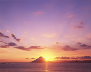 開聞岳の夕景の写真素材 [FYI03995480]