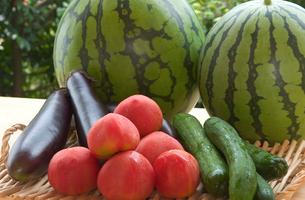 すいかと夏野菜の写真素材 [FYI03995829]
