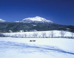 雪の高千穂牧場と高千穂の峰の写真素材 [FYI03995948]