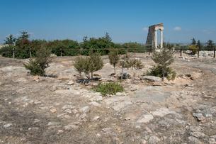 クリオン遺跡アポロン神殿と神官たちの場の写真素材 [FYI03996667]