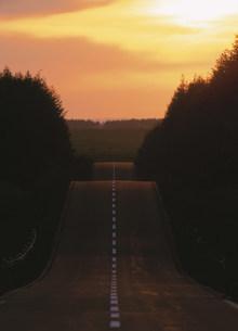 くれなずむ二段道路の写真素材 [FYI03999390]