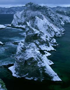 浄土ヶ浜の雪景色の写真素材 [FYI04009687]
