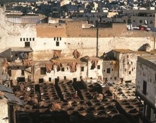 革なめし場 フェズの旧市街地の写真素材 [FYI04010907]