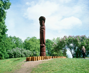 トラカイ城の創立者の記念像の写真素材 [FYI04011012]
