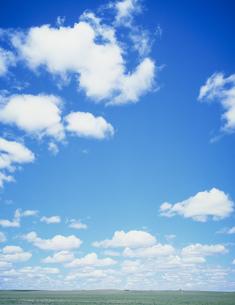 草原に浮く白い雲の写真素材 [FYI04011277]
