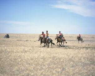 ナーダムの練習 競馬 南ゴビ モンゴルの写真素材 [FYI04011587]