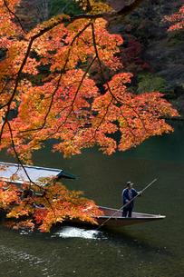 紅葉の嵐山と屋形船 の写真素材 [FYI04014139]