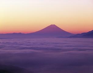 富士山と雲海と高ボッチの朝焼の写真素材 [FYI04014885]