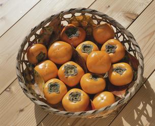 かごに入った柿の実の写真素材 [FYI04016965]
