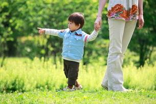 母親と手をつなぐ男の子の写真素材 [FYI04018497]