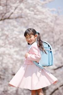満開の桜と一年生の写真素材 [FYI04018601]