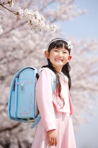 桜の下の一年生の写真素材 [FYI04018608]