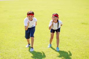 体操着でスタートを待つ子供たちの写真素材 [FYI04018788]