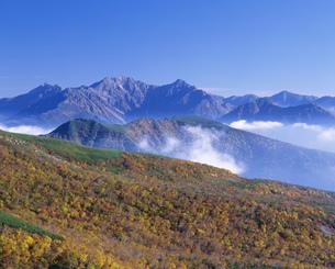 乗鞍岳より望む黄葉の穂高連峰の写真素材 [FYI04020915]