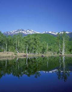 新緑の乗鞍高原と乗鞍岳の写真素材 [FYI04021018]