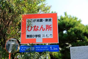 海抜表示と避難場所を示す標識の写真素材 [FYI04021799]