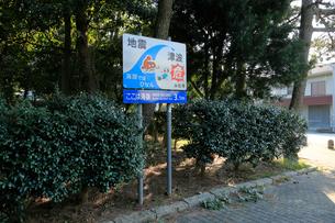 海抜表示と地震津波避難の標識の写真素材 [FYI04021809]
