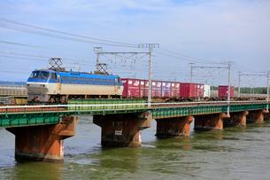 浜名湖を渡るEF66牽引貨物列車の写真素材 [FYI04021853]
