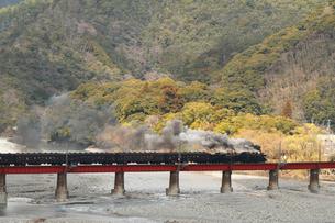 鉄橋を渡る大井川鐡道の蒸気機関車の写真素材 [FYI04022498]