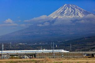 新幹線と富士山の写真素材 [FYI04022559]