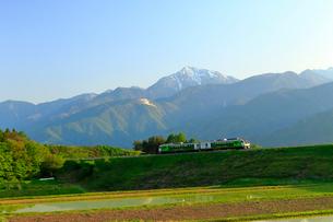 小海線リゾートビュー八ヶ岳と甲斐駒ケ岳の写真素材 [FYI04022705]