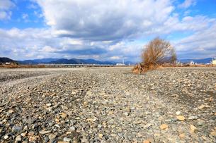 瀬切れして川の表流水が消失した安倍川の写真素材 [FYI04023023]