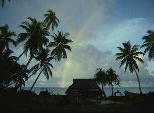 虹と家屋 1月 キリバス共和国の写真素材 [FYI04023562]