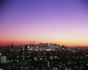 新宿高層ビル群と富士山の夕焼け 文京区役所展望台より望むの写真素材 [FYI04026026]