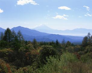 秋の清里高原から富士山を見るの写真素材 [FYI04026071]
