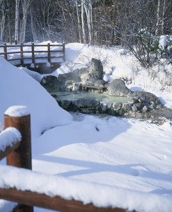 冬の川湯温泉の写真素材 [FYI04026556]