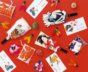 羽子板と凧とポチ袋の写真素材 [FYI04028379]