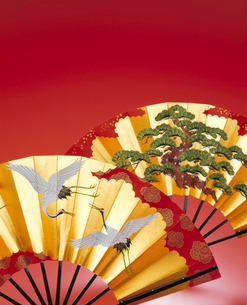 鶴と松の扇子の写真素材 [FYI04028410]
