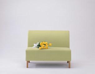 緑のソファーの上のチューリップの写真素材 [FYI04029108]