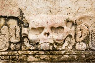 パレンケ遺跡 頭蓋骨の神殿のレリーフの写真素材 [FYI04029311]