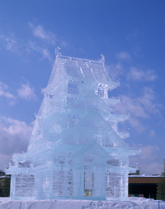 冬まつり大氷像 石狩川河川の写真素材 [FYI04029603]