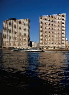 水上バス・ヒミコと隅田川沿いのマンションの写真素材 [FYI04030285]