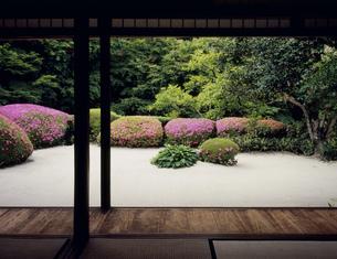 庭園の枯山水と皐月 詩仙堂 一乗寺の写真素材 [FYI04030851]